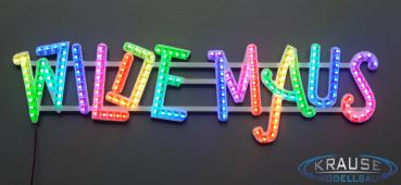 Schriftzug Wilde Maus, adressierbare RGB Pixel LEDs, Modell Wilde Maus